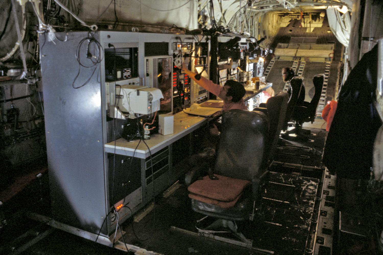 radar controls in C-130 plane