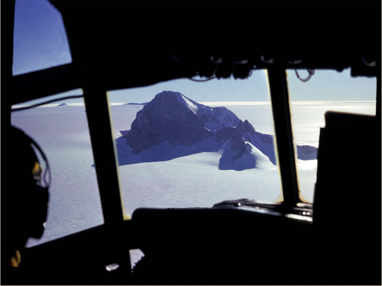 Aerial view of Whitmore Mountain in Antarctica