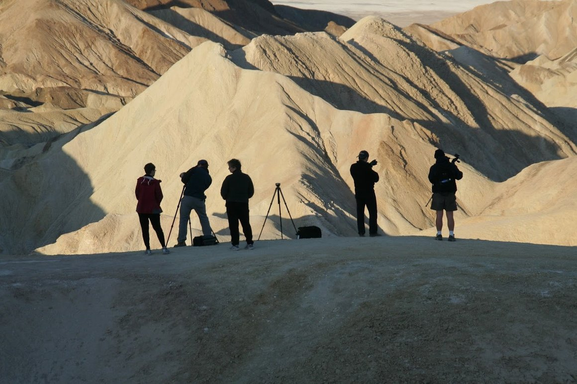 Students working in Death Valley