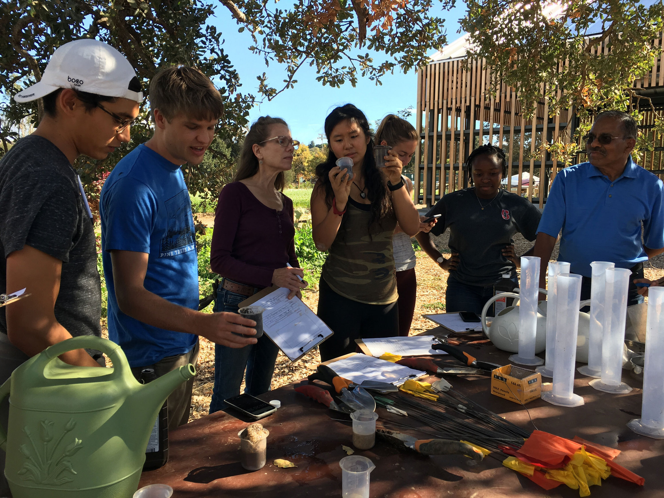 students conduct soil research at the Stanford Educational farm