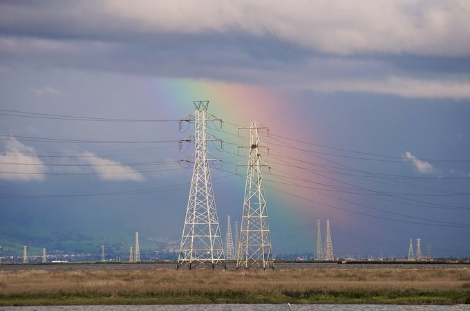 Palo Alto power lines in front of rainbow