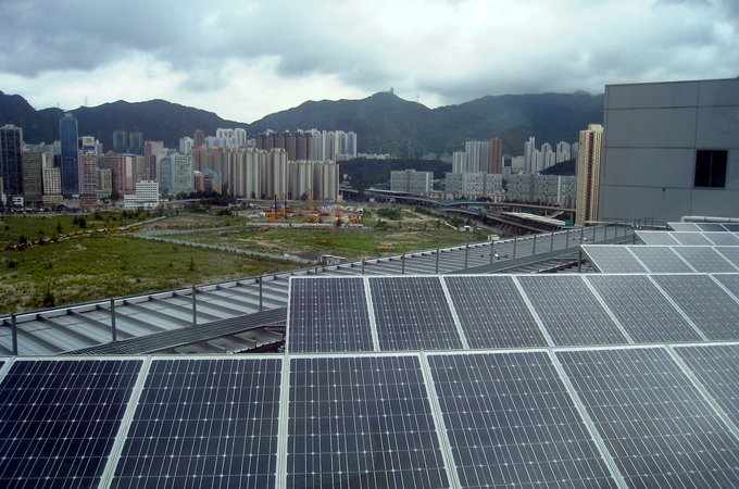 solar panels near a city