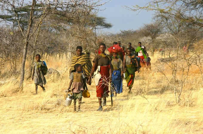 Hadza moving between camps