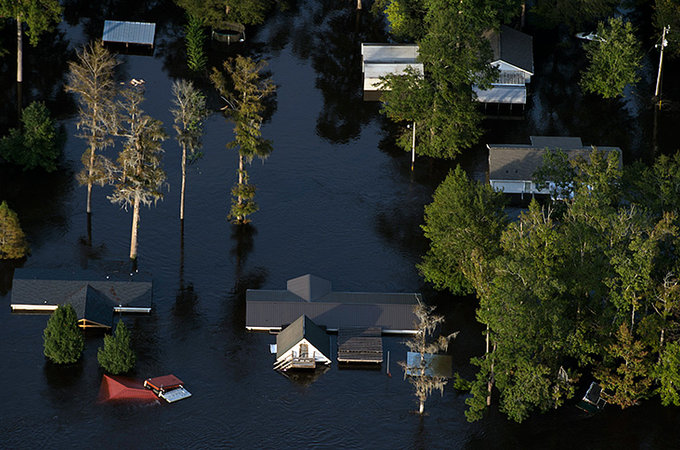 aerial view flooded homes
