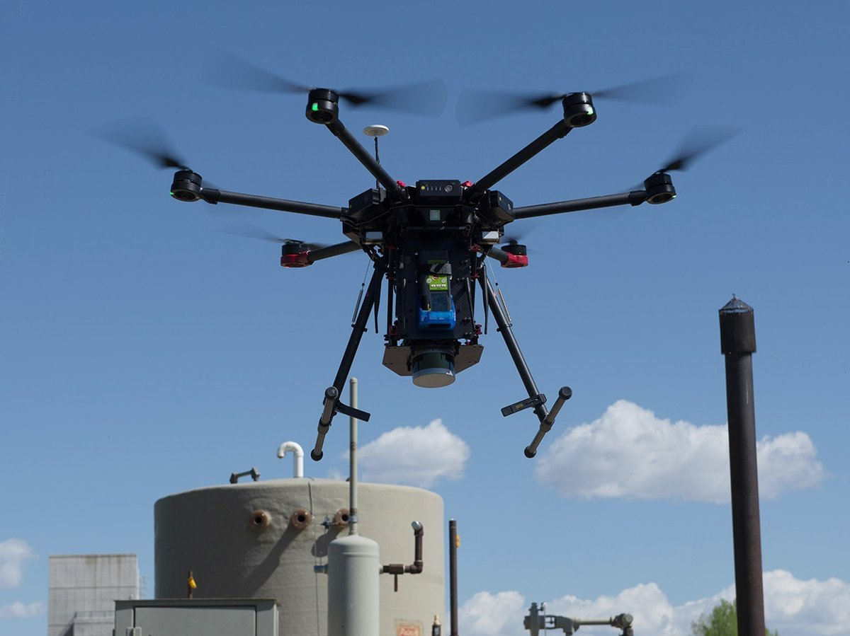 Drone at a methane leak test site