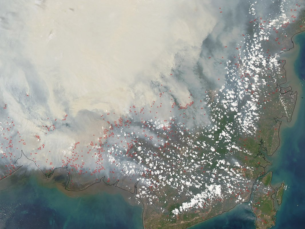 View from a satellite of smoke caused by a fire in Borneo
