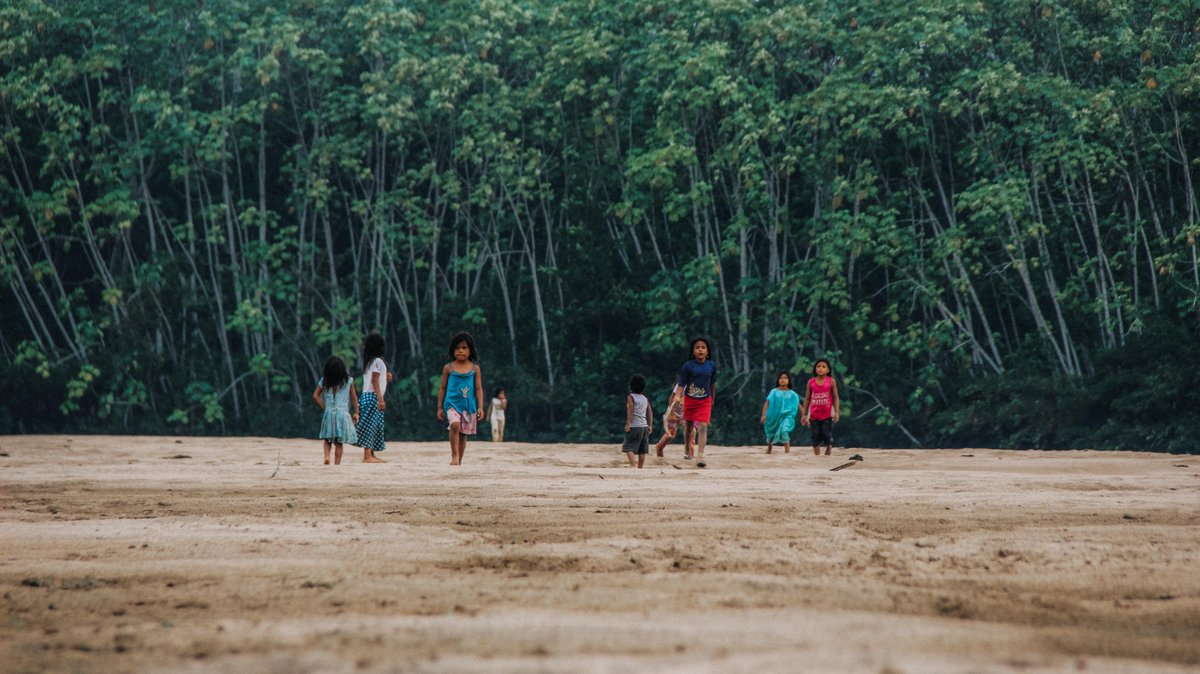Children walk across deforested area.