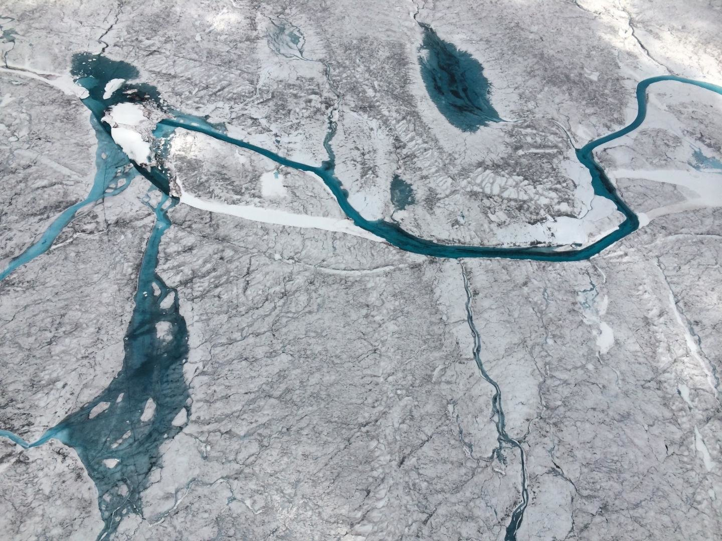 Surface meltwater on Greenland Glacier