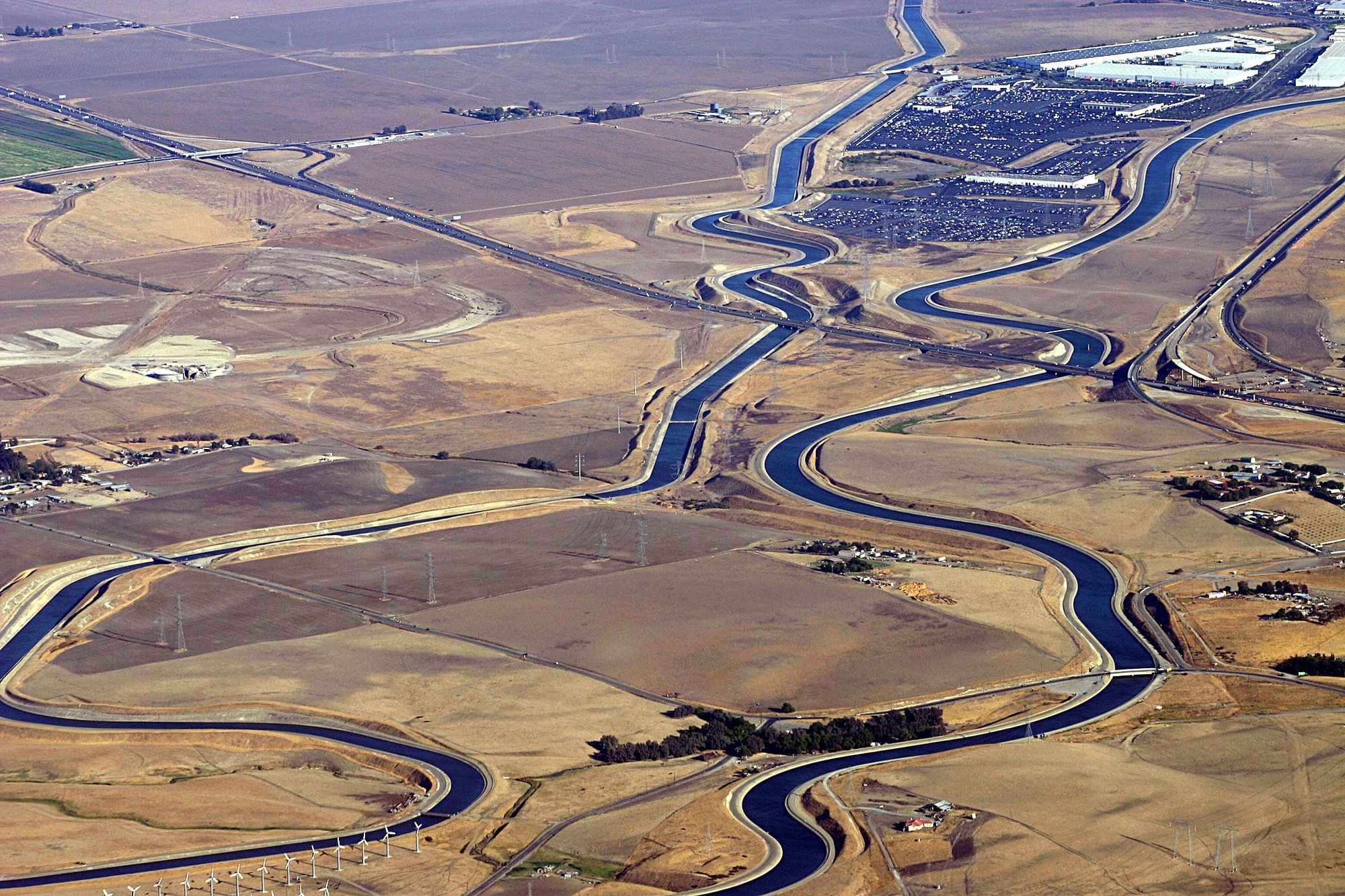 Aerial view of the California Aqueduct