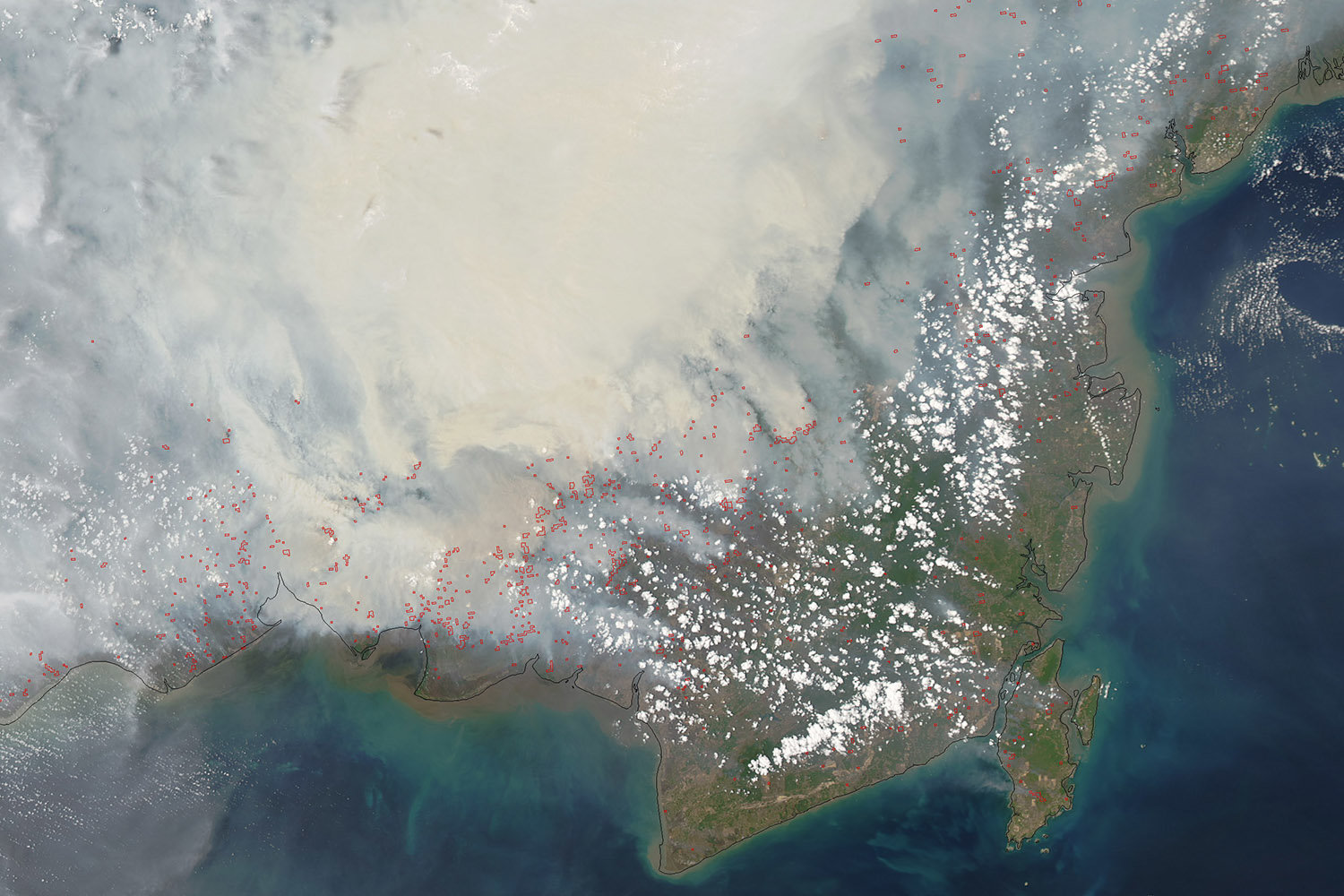 View from satellite of smoke caused by a fire in Borneo