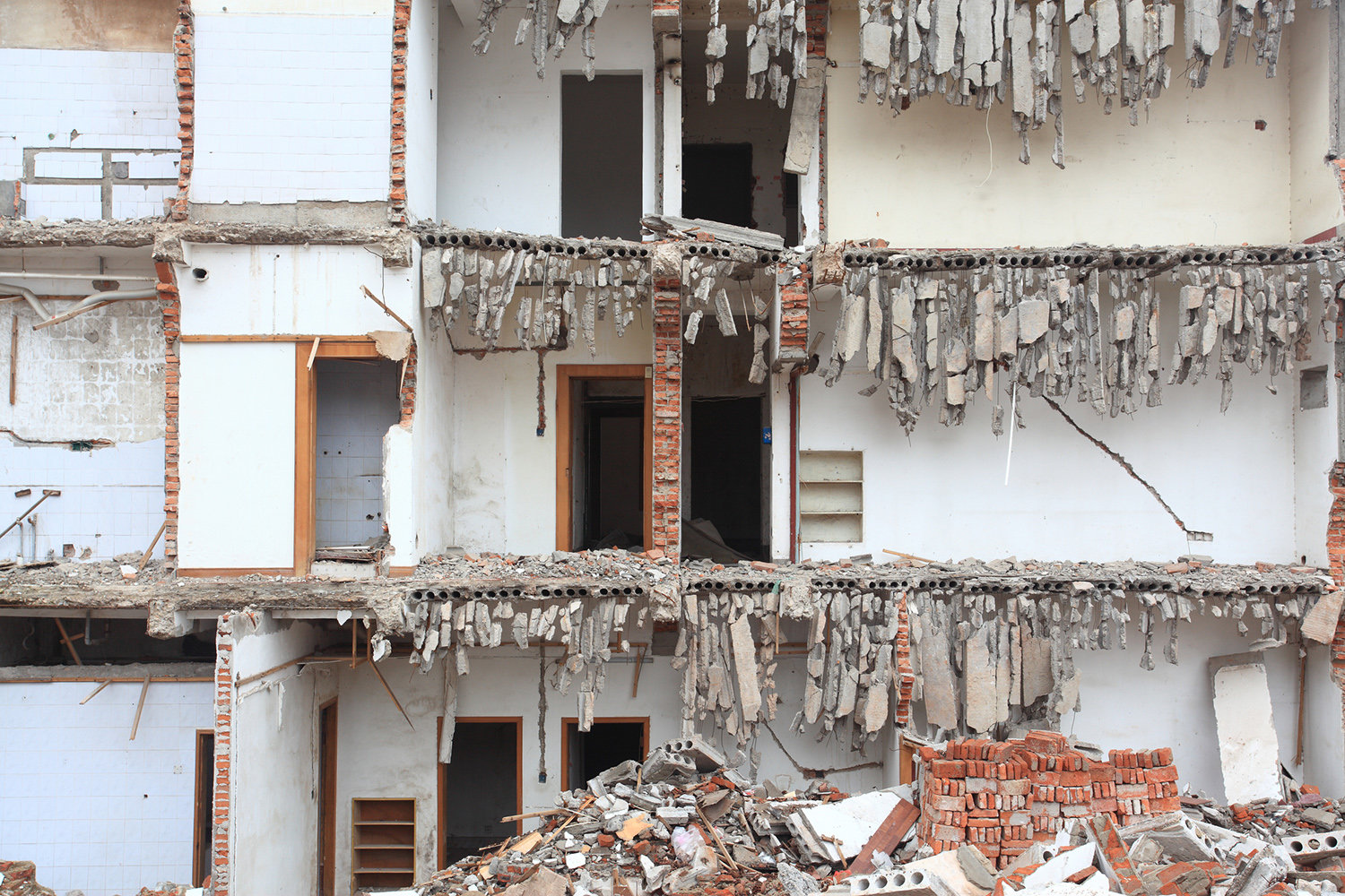 Collapsed floors of a building