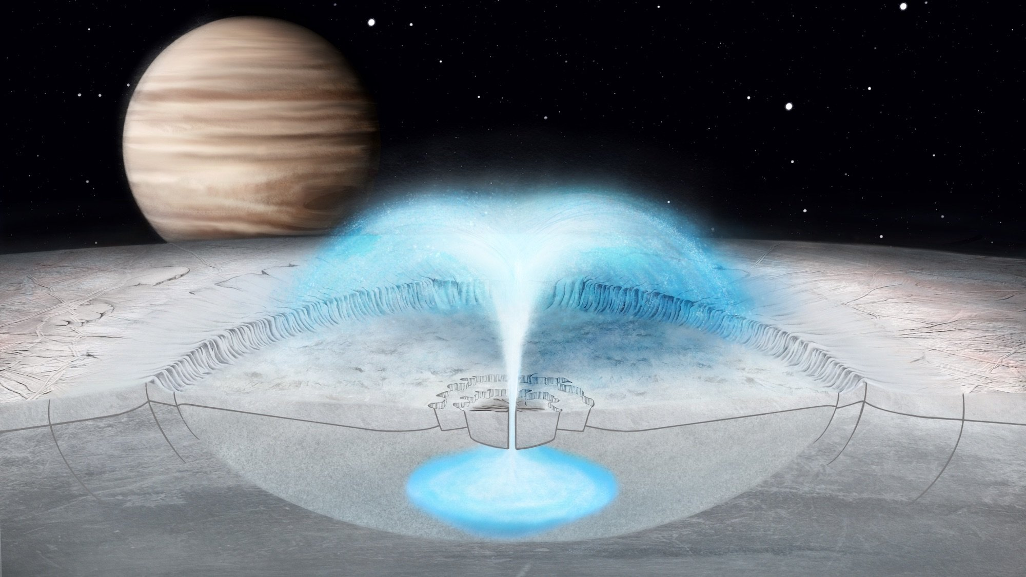 Illustration of eruption on Europa with Jupiter in background
