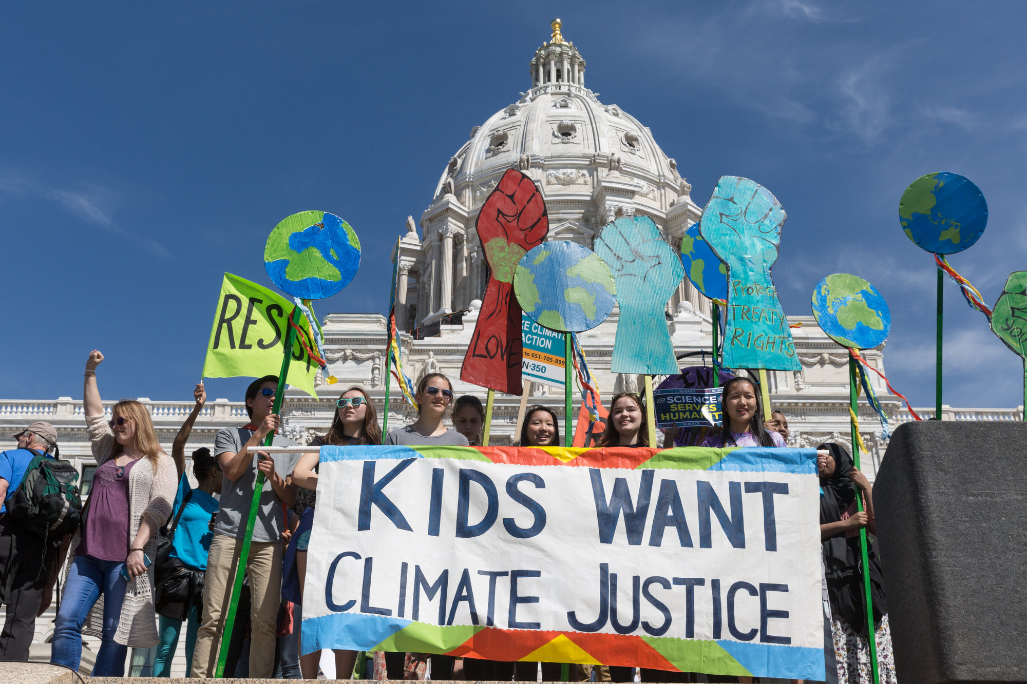 Children march for climate justice.
