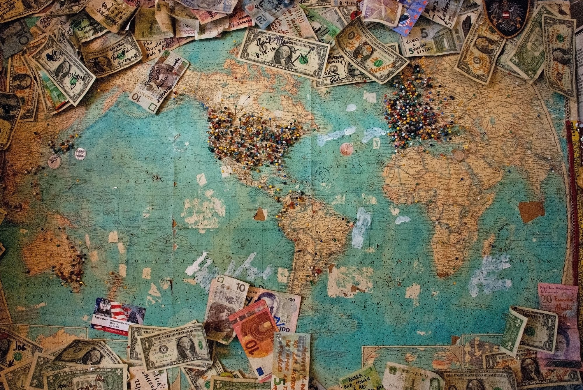 Map with dollar bills