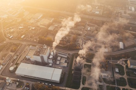 Aerial view of factory emissions
