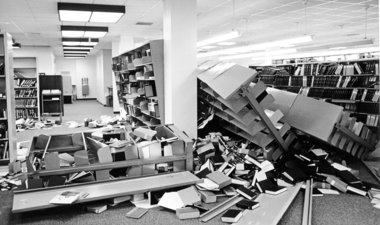 Collapsed bookshelves