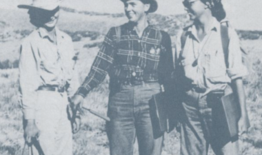 In 1964, Cynthia Avery, Rosalind Tuthill, and Judy Terry were the first women enrolled in the Stanford Geologic Survey's summer field geology class.