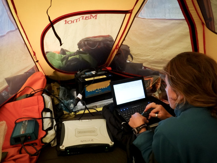 Lauren Oakes analyzes data in a tent.