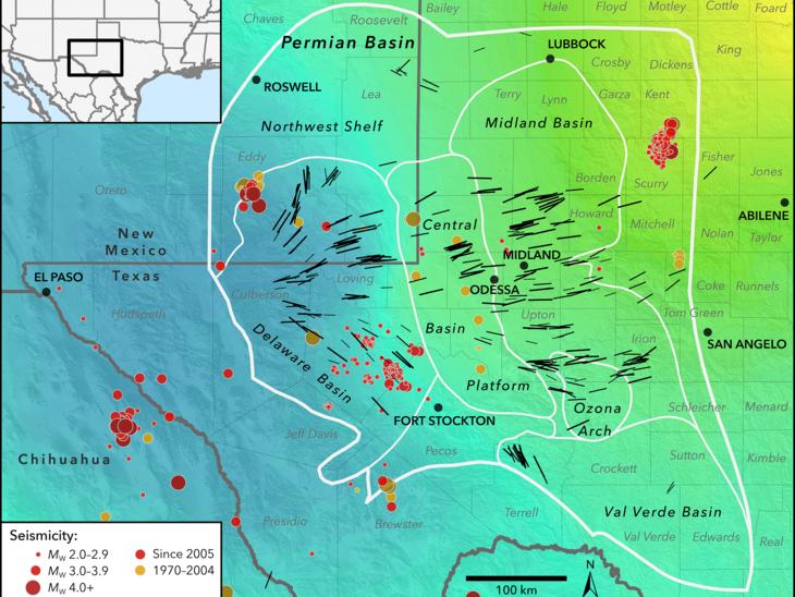 Permian Basin seismic stress map